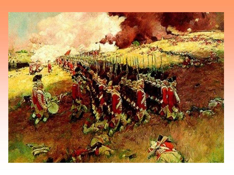 1775 - 1781 válka za nezávislost zpočátku převaha Británie kolonisté – podpora ze strany Francie, Španělska, Nizozemí obrat ve válce:1777 vítězství Washingtona u Saratogy Britové – vítězství u Savannah, prohra u Charlestonu 1781- rozhodné vítězství u Yorktownu 1781 britská armáda se vzdává u Chesapeake Bay 1783 Británie uznala nezávislost 13 osad