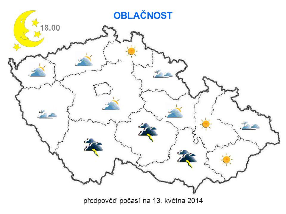 předpověď počasí na 13. května 2014 18.00 OBLAČNOST