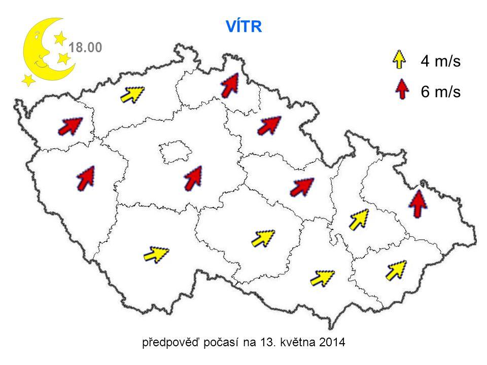 předpověď počasí na 13. května 2014 VÍTR 18.00 4 m/s 6 m/s