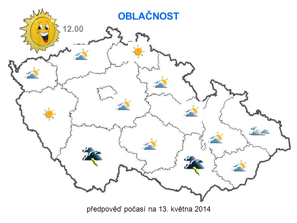 předpověď počasí na 13. května 2014 12.00 OBLAČNOST