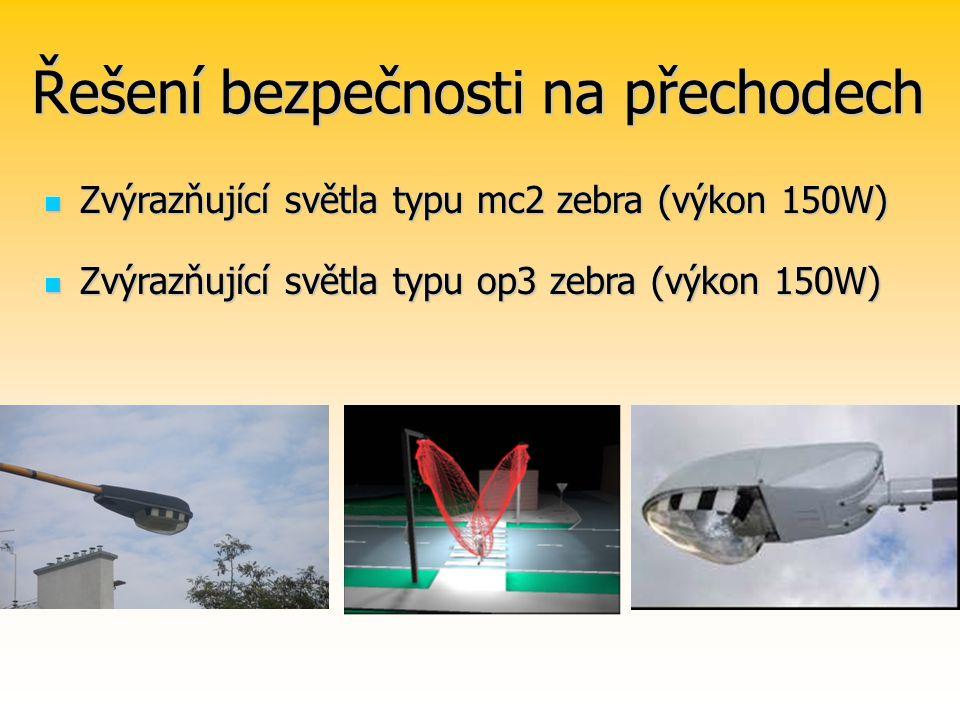 Řešení bezpečnosti na přechodech Zvýrazňující světla typu mc2 zebra (výkon 150W) Zvýrazňující světla typu mc2 zebra (výkon 150W) Zvýrazňující světla typu op3 zebra (výkon 150W) Zvýrazňující světla typu op3 zebra (výkon 150W)