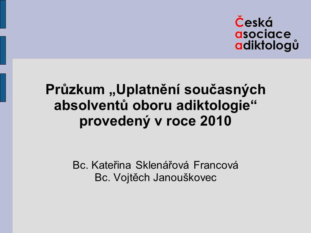 """Průzkum """"Uplatnění současných absolventů oboru adiktologie"""" provedený v roce 2010 Bc. Kateřina Sklenářová Francová Bc. Vojtěch Janouškovec"""