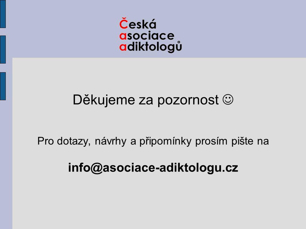 Děkujeme za pozornost Pro dotazy, návrhy a připomínky prosím pište na info@asociace-adiktologu.cz