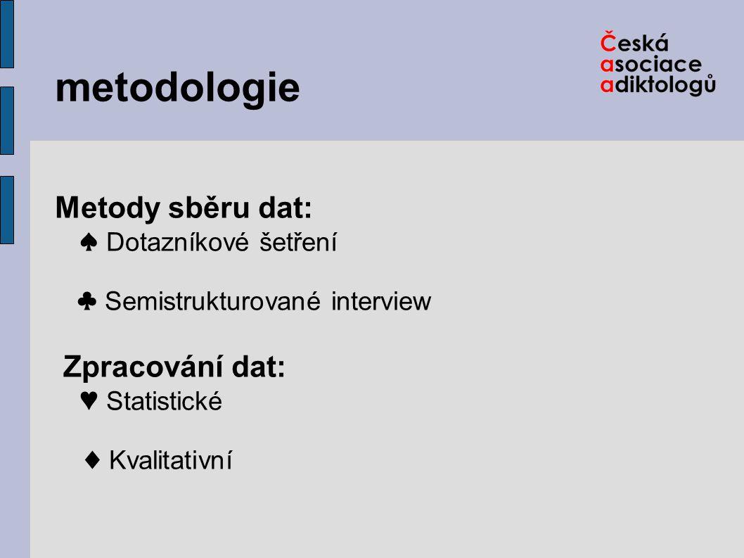 metodologie Metody sběru dat: ♠ Dotazníkové šetření ♣ Semistrukturované interview Zpracování dat: ♥ Statistické ♦ Kvalitativní