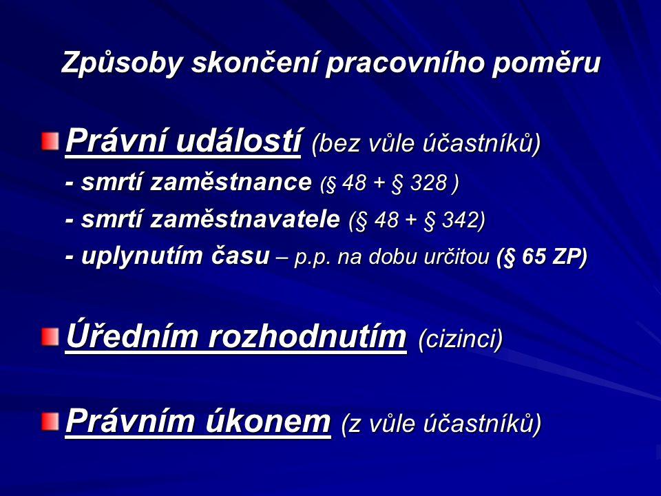 Způsoby skončení pracovního poměru Právní událostí (bez vůle účastníků) - smrtí zaměstnance (§ 48 + § 328 ) - smrtí zaměstnavatele (§ 48 + § 342) - up