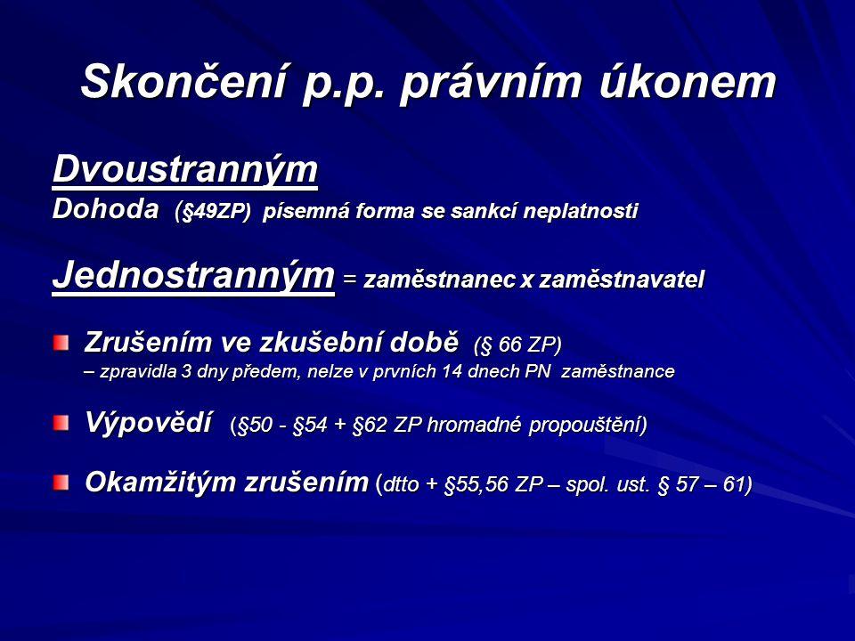 Skončení p.p. právním úkonem Dvoustranným Dohoda ( §49ZP) písemná forma se sankcí neplatnosti Jednostranným = zaměstnanec x zaměstnavatel Zrušením ve