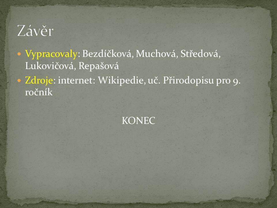 Vypracovaly: Bezdíčková, Muchová, Středová, Lukovičová, Repašová Zdroje: internet: Wikipedie, uč. Přirodopisu pro 9. ročník KONEC