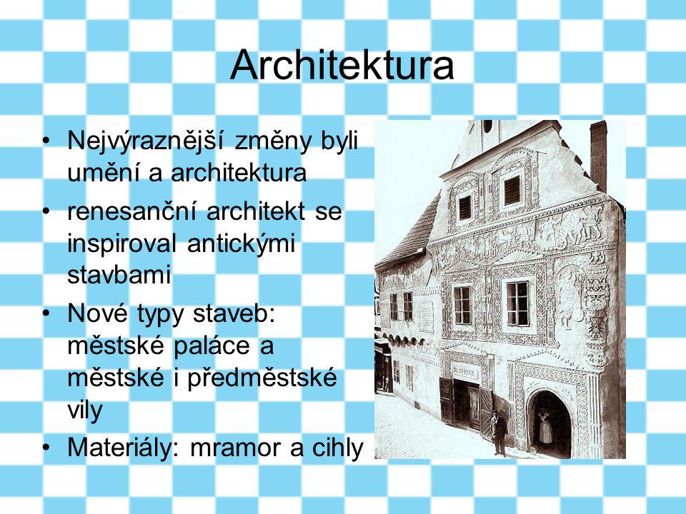 Architektura Nejvýraznější změny byli umění a architektura renesanční architekt se inspiroval antickými stavbami Nové typy staveb: městské paláce a mě