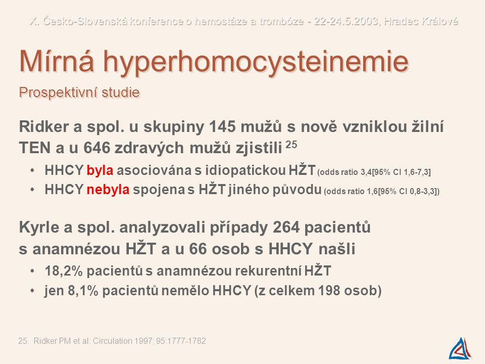Ridker a spol. u skupiny 145 mužů s nově vzniklou žilní TEN a u 646 zdravých mužů zjistili 25 HHCY byla asociována s idiopatickou HŽT (odds ratio 3,4[