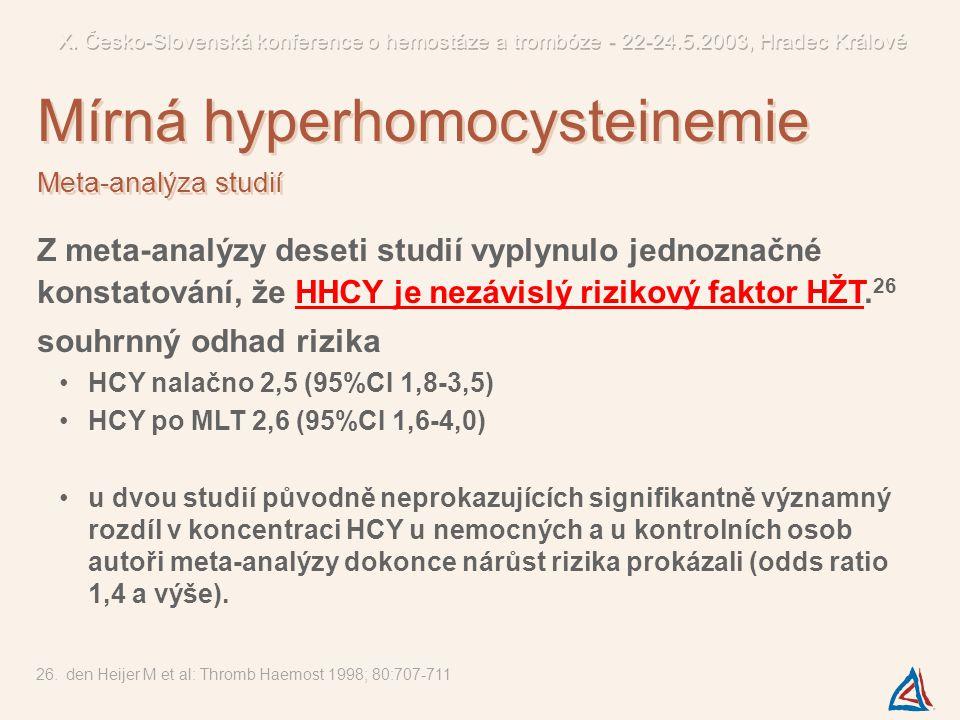 Z meta-analýzy deseti studií vyplynulo jednoznačné konstatování, že HHCY je nezávislý rizikový faktor HŽT. 26 souhrnný odhad rizika HCY nalačno 2,5 (9