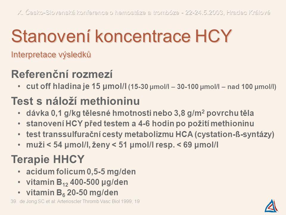 Referenční rozmezí cut off hladina je 15 μmol/l (15-30 μmol/l – 30-100 μmol/l – nad 100 μmol/l) Test s náloží methioninu dávka 0,1 g/kg tělesné hmotno