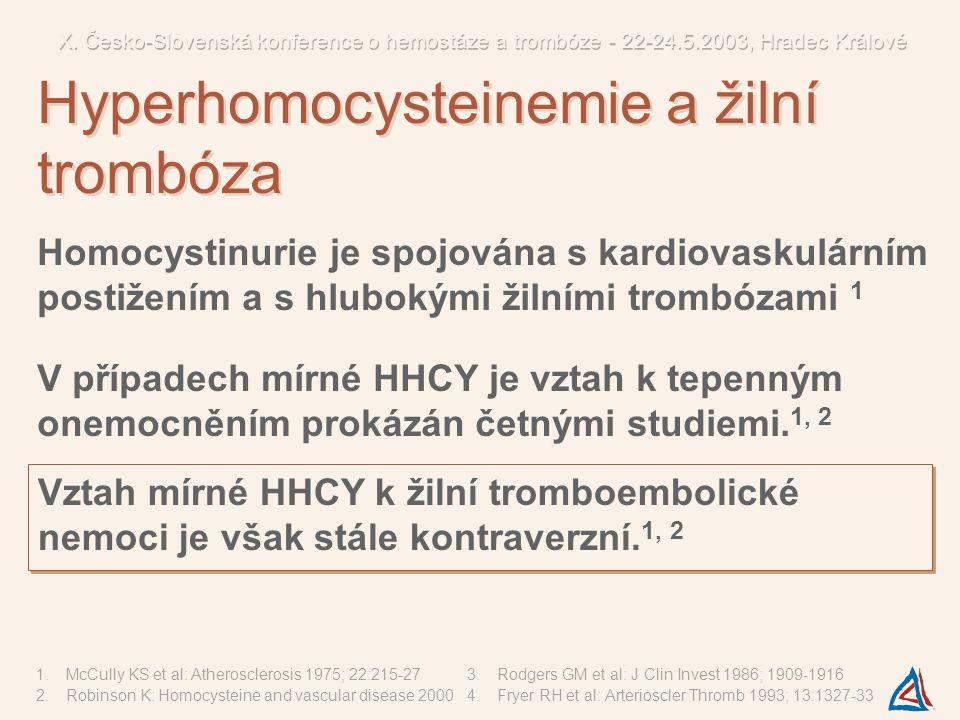 ? Homocystein inhibuje antitrombotické mechanismy endotelu zvýšením faktoru V 3 zvýšením tkáňového faktoru 4 inhibicí proteinu C 5, 6 inhibicí trombomodulinu 7 inhibicí heparan sulfátu 8 Výsledky pouze in-vitro pokusů s nefyziologicky vysokou koncentrací HCY 2 5.Rodgers GM et al: Blood 1990; 75:895-901 6.Lentz SR et al: J Clin Invest 1991; 88:1906-1914 7.Hayashi T et al: Blood 1992; 79:2930-2936 8.Nishinaga M et al: J Clin Invest 1993; 92:1381-1386 Patogeneze žilní trombózy asociované s HHCY