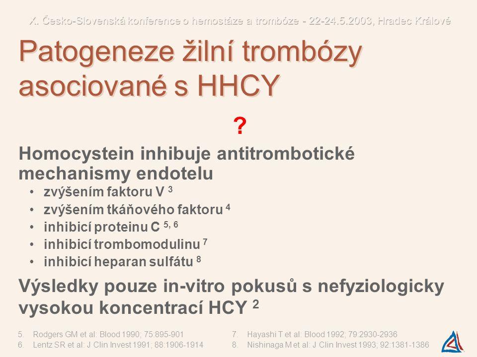 ? Homocystein inhibuje antitrombotické mechanismy endotelu zvýšením faktoru V 3 zvýšením tkáňového faktoru 4 inhibicí proteinu C 5, 6 inhibicí trombom