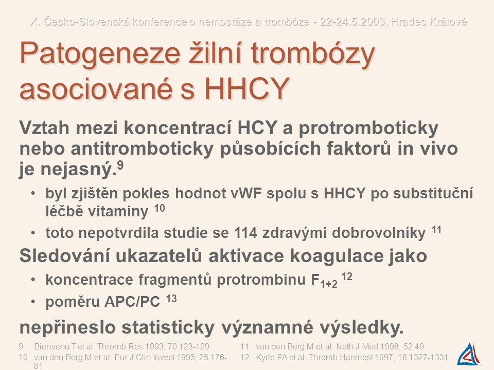 Vztah mezi koncentrací HCY a protromboticky nebo antitromboticky působících faktorů in vivo je nejasný. 9 byl zjištěn pokles hodnot vWF spolu s HHCY p
