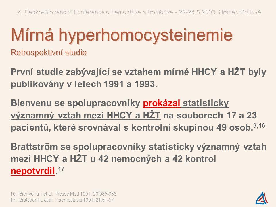První studie zabývající se vztahem mírné HHCY a HŽT byly publikovány v letech 1991 a 1993. Bienvenu se spolupracovníky prokázal statisticky významný v