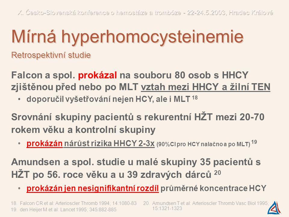 Falcon a spol. prokázal na souboru 80 osob s HHCY zjištěnou před nebo po MLT vztah mezi HHCY a žilní TEN doporučil vyšetřování nejen HCY, ale i MLT 18
