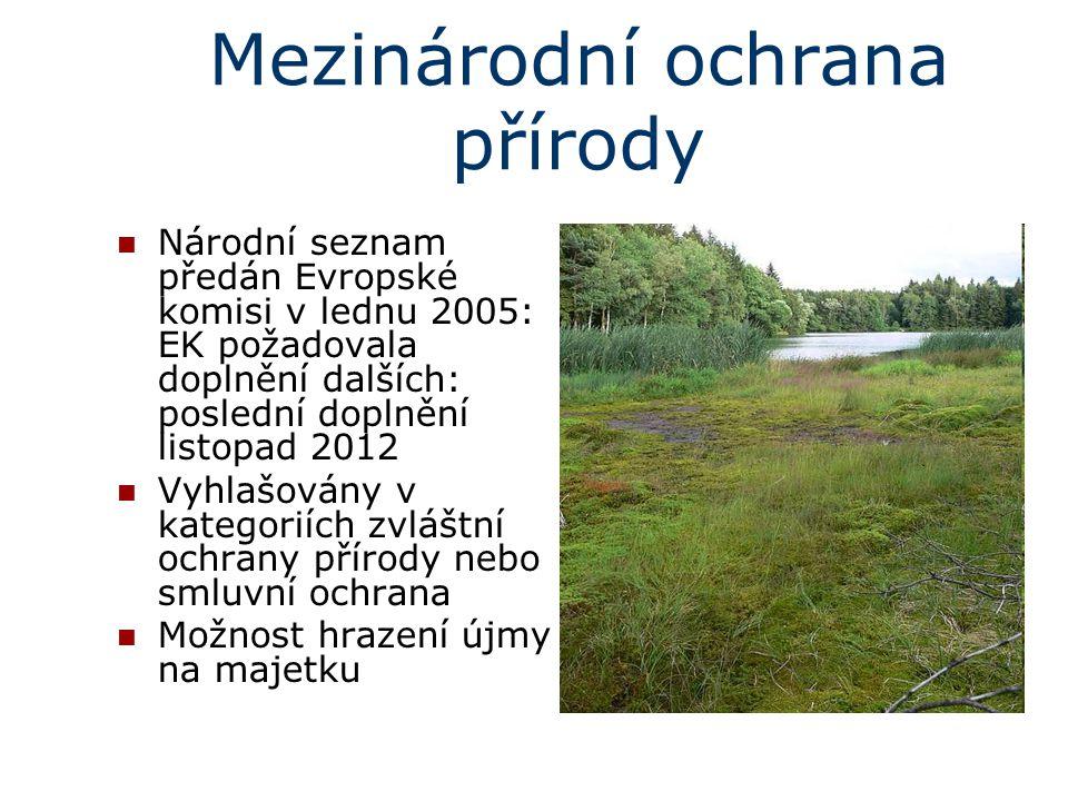 Mezinárodní ochrana přírody Národní seznam předán Evropské komisi v lednu 2005: EK požadovala doplnění dalších: poslední doplnění listopad 2012 Vyhlaš