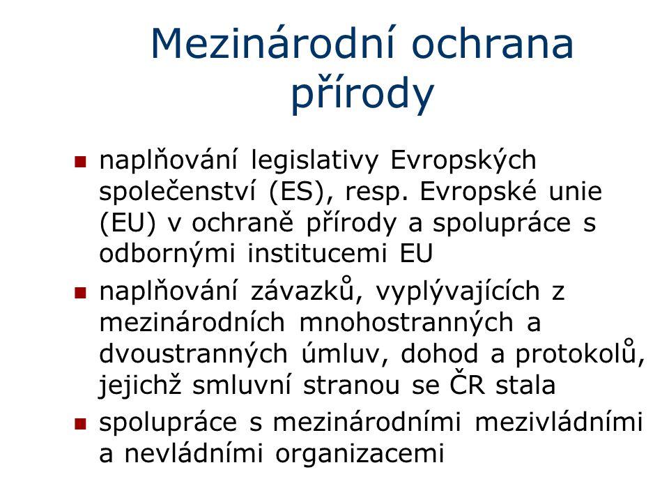 Mezinárodní ochrana přírody naplňování legislativy Evropských společenství (ES), resp. Evropské unie (EU) v ochraně přírody a spolupráce s odbornými i