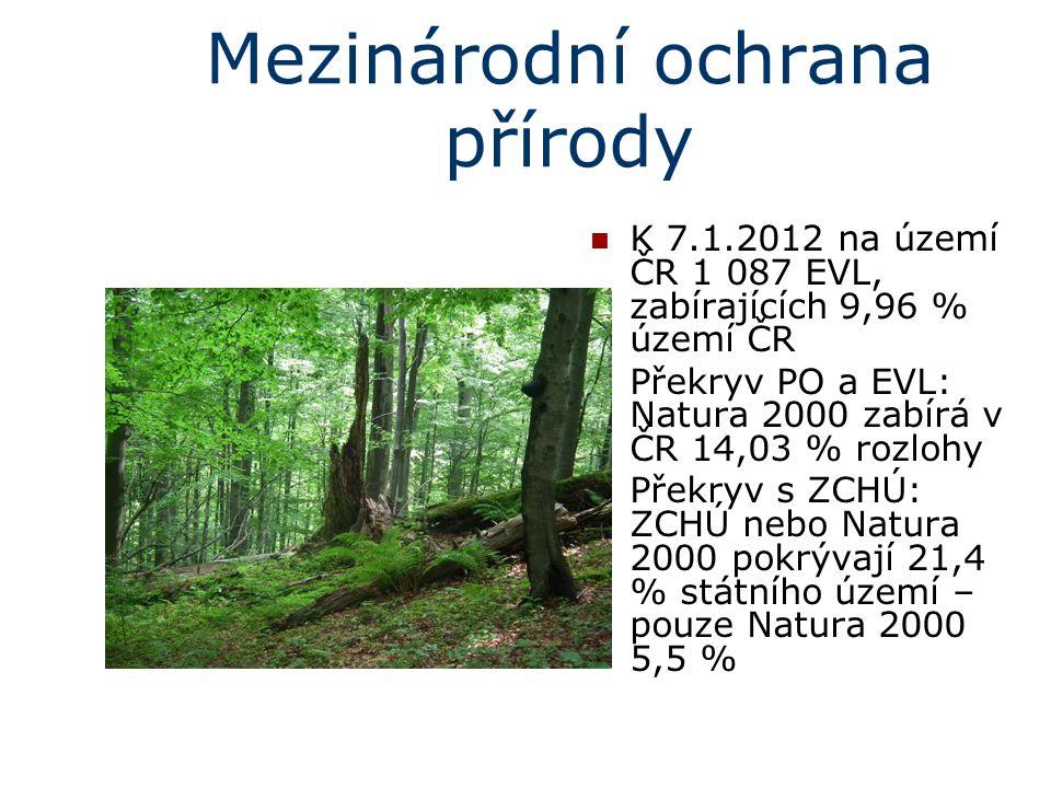 Mezinárodní ochrana přírody K 7.1.2012 na území ČR 1 087 EVL, zabírajících 9,96 % území ČR Překryv PO a EVL: Natura 2000 zabírá v ČR 14,03 % rozlohy P