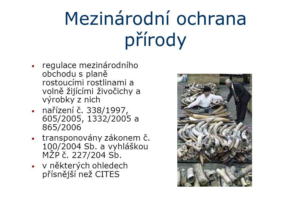 Mezinárodní ochrana přírody regulace mezinárodního obchodu s planě rostoucími rostlinami a volně žijícími živočichy a výrobky z nich nařízení č. 338/1