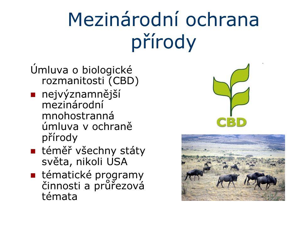Mezinárodní ochrana přírody Úmluva o biologické rozmanitosti (CBD) nejvýznamnější mezinárodní mnohostranná úmluva v ochraně přírody téměř všechny stát