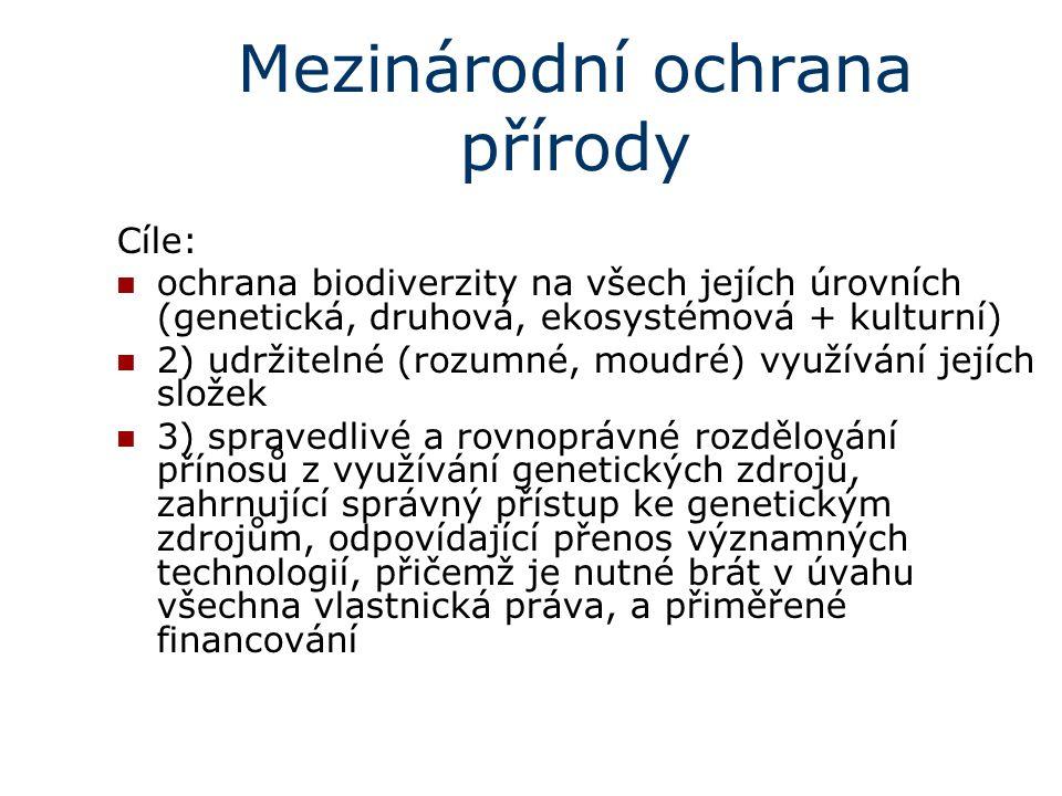Mezinárodní ochrana přírody Cíle: ochrana biodiverzity na všech jejích úrovních (genetická, druhová, ekosystémová + kulturní) 2) udržitelné (rozumné,