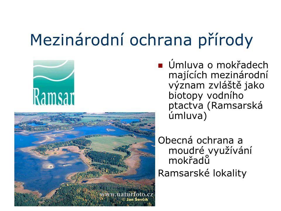 Mezinárodní ochrana přírody Úmluva o mokřadech majících mezinárodní význam zvláště jako biotopy vodního ptactva (Ramsarská úmluva) Obecná ochrana a mo