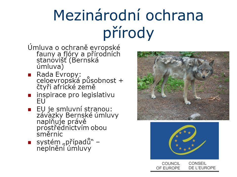 Mezinárodní ochrana přírody Úmluva o ochraně evropské fauny a flóry a přírodních stanovišť (Bernská úmluva) Rada Evropy: celoevropská působnost + čtyř