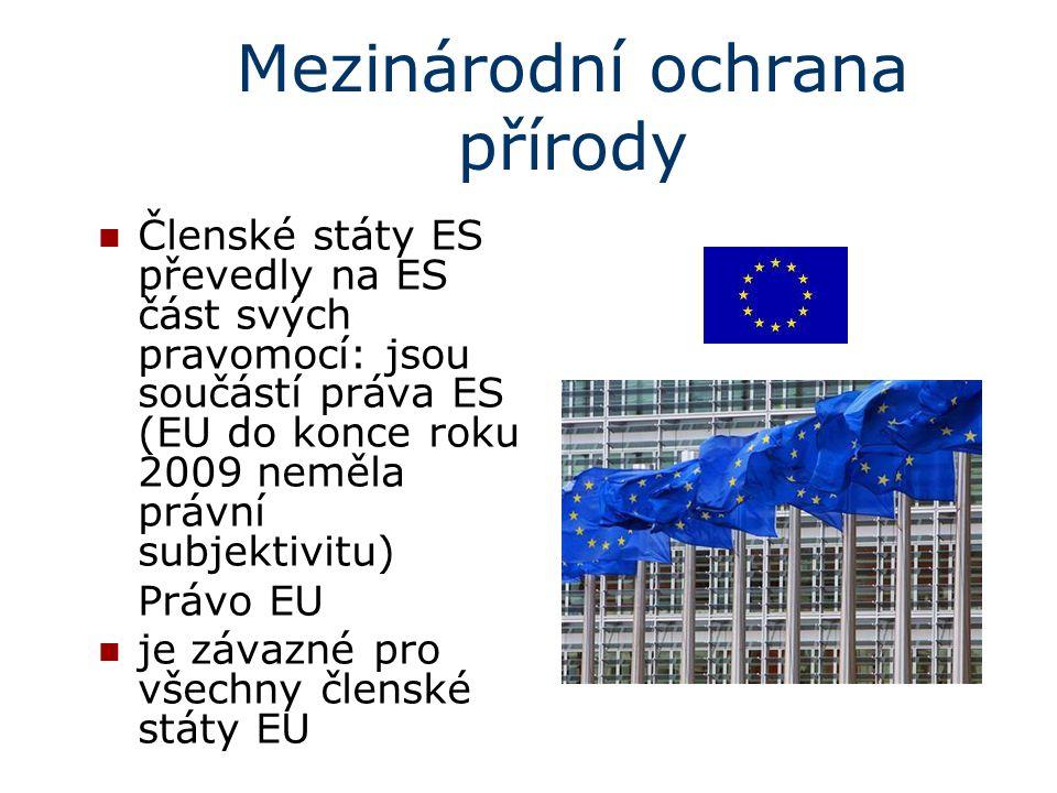Mezinárodní ochrana přírody Členské státy ES převedly na ES část svých pravomocí: jsou součástí práva ES (EU do konce roku 2009 neměla právní subjekti