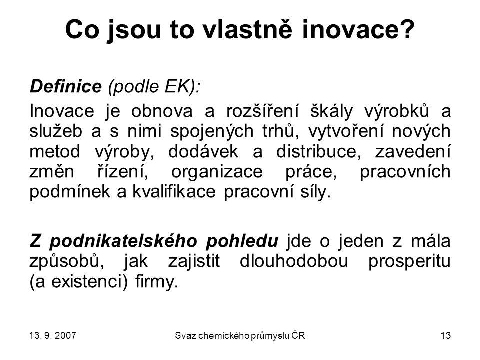 13. 9. 2007Svaz chemického průmyslu ČR13 Co jsou to vlastně inovace.