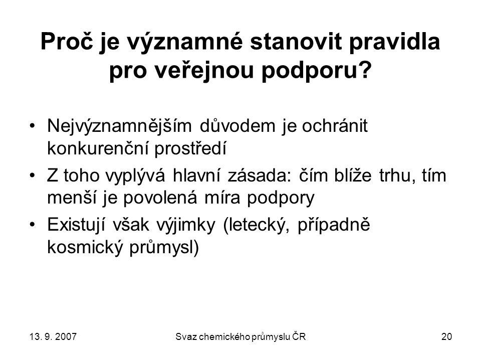 13. 9. 2007Svaz chemického průmyslu ČR20 Proč je významné stanovit pravidla pro veřejnou podporu.