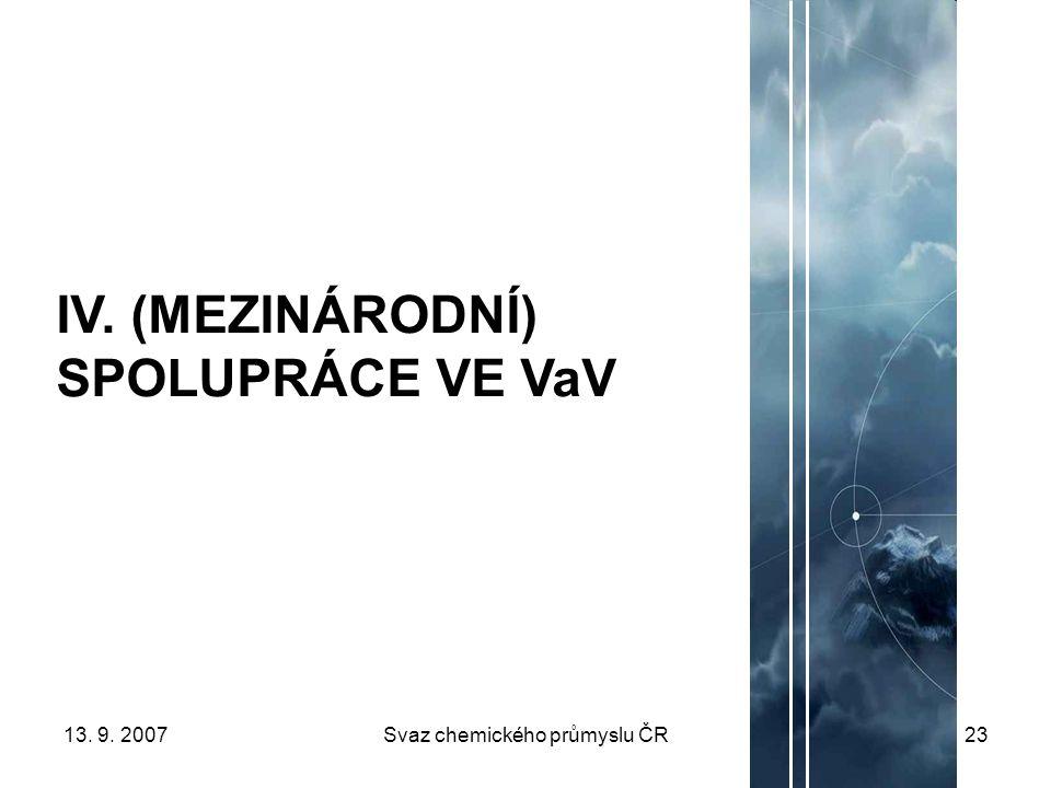 13. 9. 2007Svaz chemického průmyslu ČR23 IV. (MEZINÁRODNÍ) SPOLUPRÁCE VE VaV