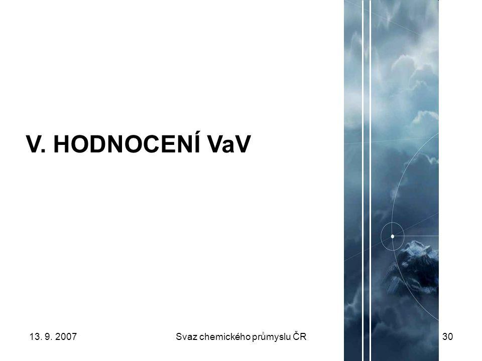 13. 9. 2007Svaz chemického průmyslu ČR30 V. HODNOCENÍ VaV