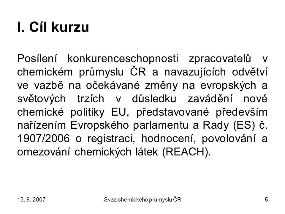 13.9. 2007Svaz chemického průmyslu ČR5 I.
