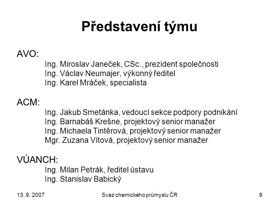 13. 9. 2007Svaz chemického průmyslu ČR40 DĚKUJI VÁM ZA POZORNOST