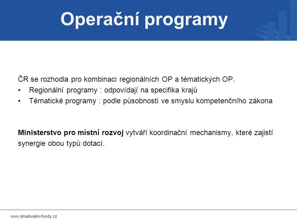 www.strukturalni-fondy.cz ČR se rozhodla pro kombinaci regionálních OP a tématických OP.