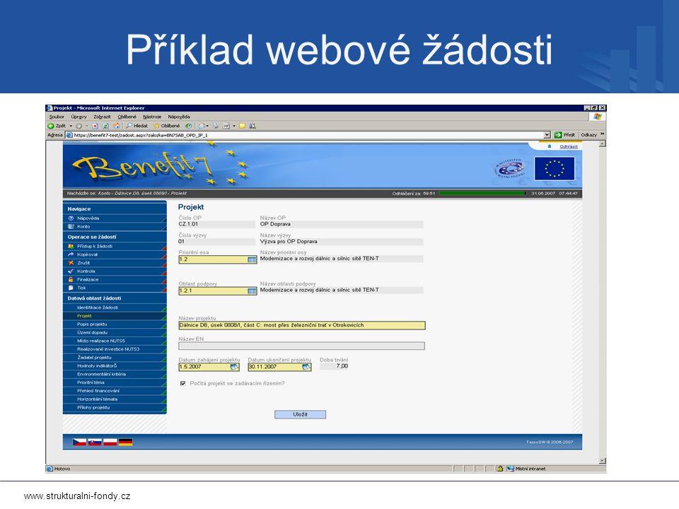www.strukturalni-fondy.cz Příklad webové žádosti