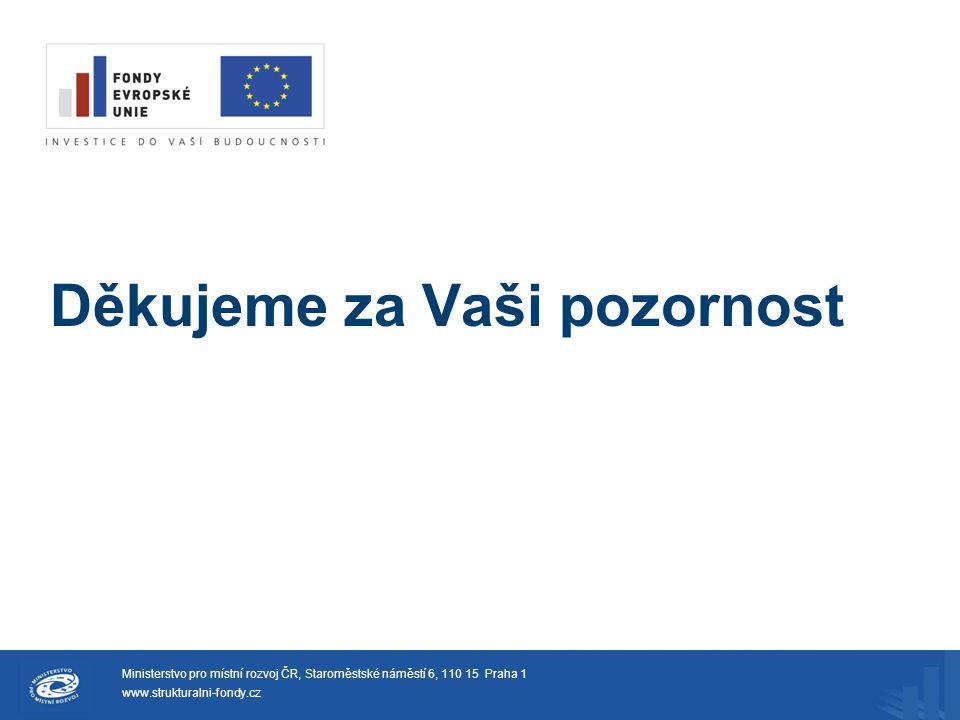 Děkujeme za Vaši pozornost Ministerstvo pro místní rozvoj ČR, Staroměstské náměstí 6, 110 15 Praha 1 www.strukturalni-fondy.cz