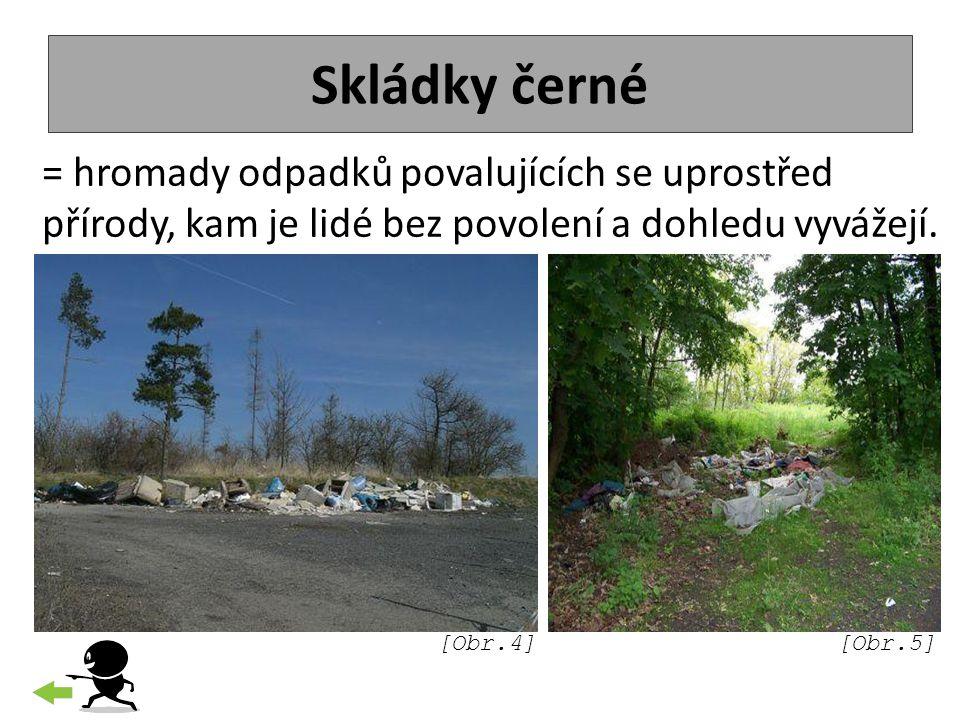 Skládky černé = hromady odpadků povalujících se uprostřed přírody, kam je lidé bez povolení a dohledu vyvážejí.
