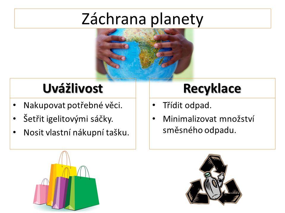 Záchrana planety Uvážlivost Nakupovat potřebné věci.