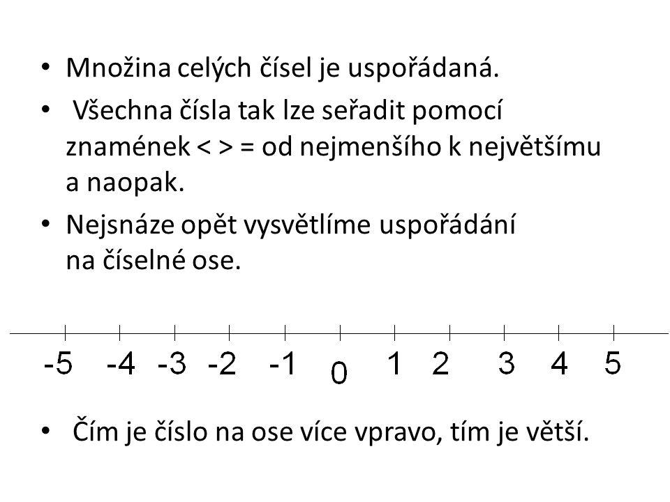 Množina celých čísel je uspořádaná. Všechna čísla tak lze seřadit pomocí znamének = od nejmenšího k největšímu a naopak. Nejsnáze opět vysvětlíme uspo