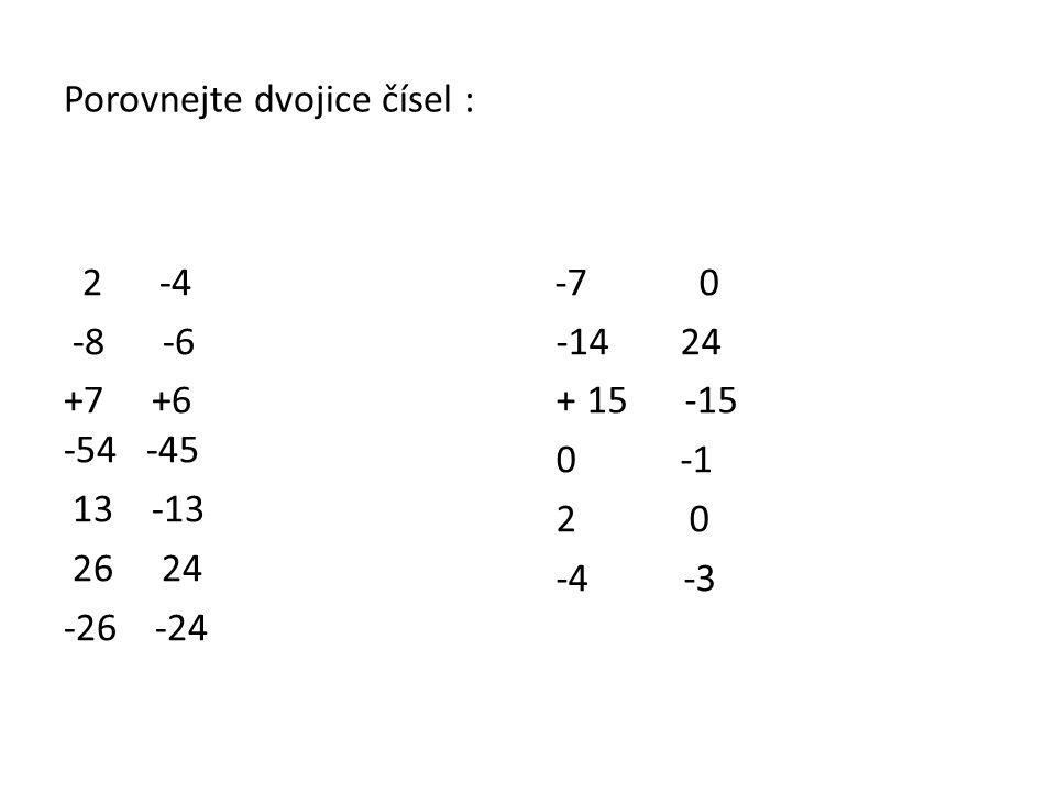 Porovnejte dvojice čísel : 2 -4 -8 -6 +7 +6 -54 -45 13 -13 26 24 -26 -24 -7 0 -14 24 + 15 -15 0 -1 2 0 -4 -3