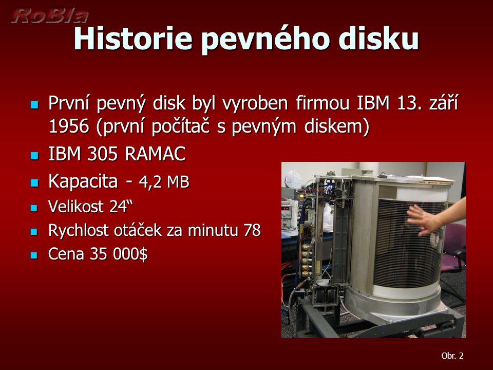 Historie pevného disku První pevný disk byl vyroben firmou IBM 13.