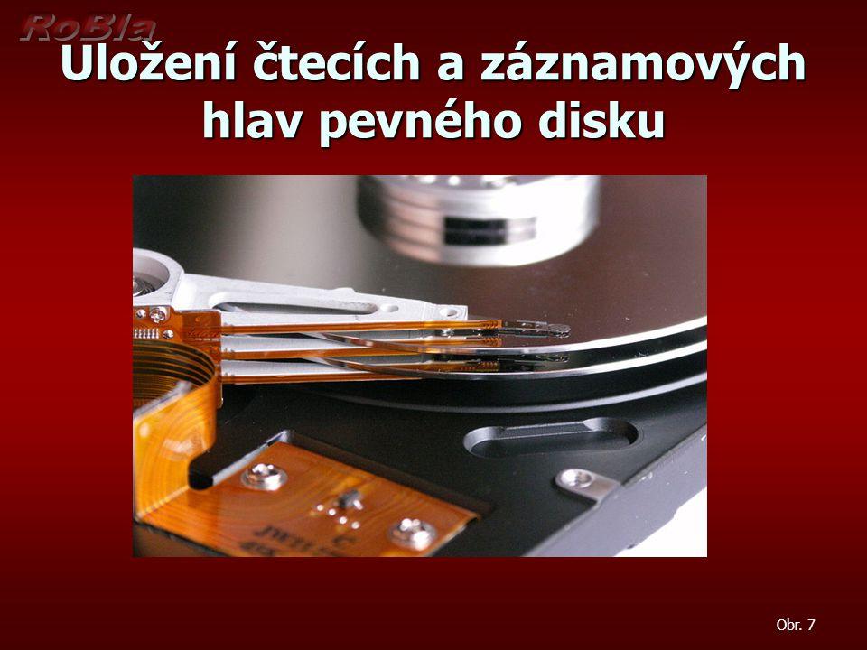 Uložení čtecích a záznamových hlav pevného disku Obr. 7