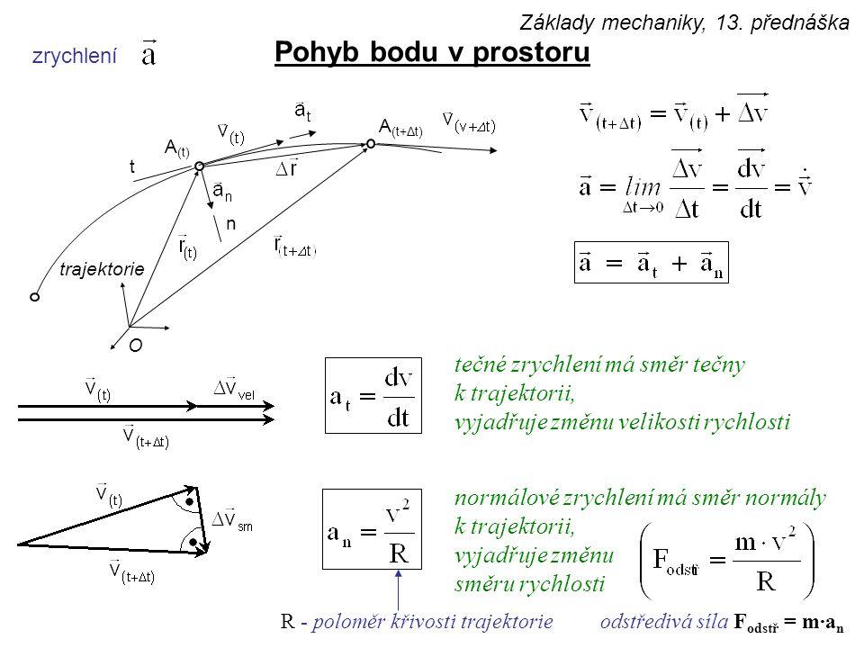 zrychlení Pohyb bodu v prostoru odstředivá síla F odstř = m·a n A (t) trajektorie O A (t+Δt) t n tečné zrychlení má směr tečny k trajektorii, vyjadřuje změnu velikosti rychlosti normálové zrychlení má směr normály k trajektorii, vyjadřuje změnu směru rychlosti R - poloměr křivosti trajektorie Základy mechaniky, 13.