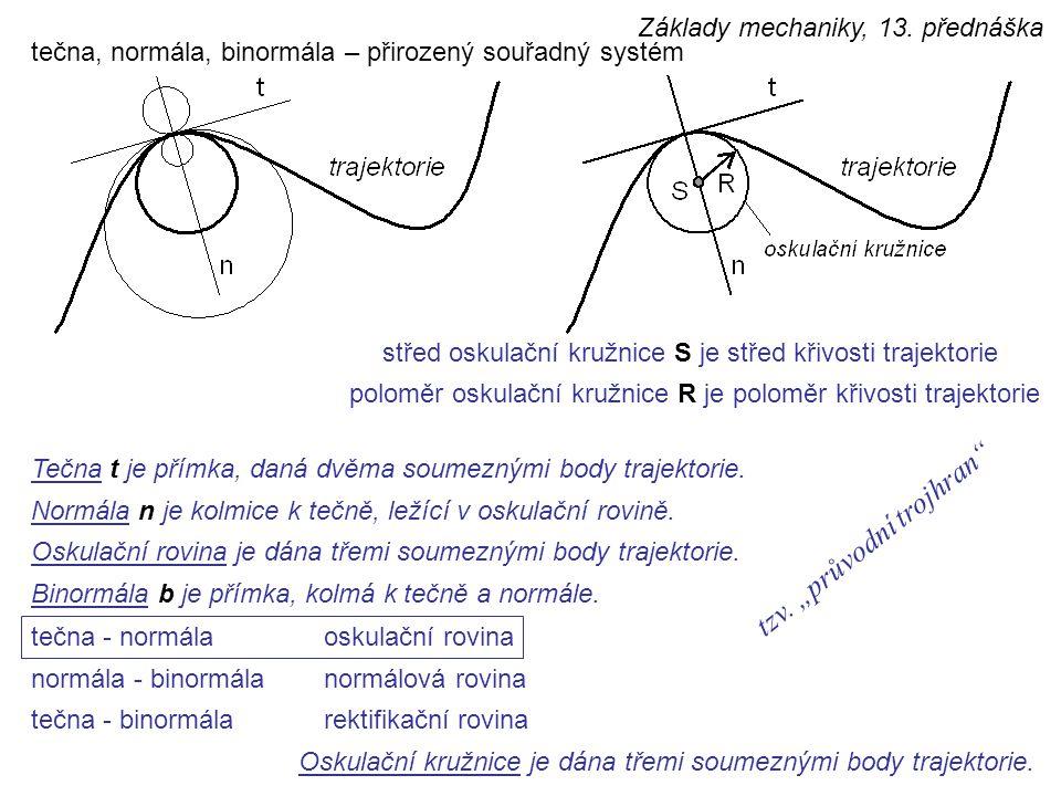 tečna, normála, binormála – přirozený souřadný systém střed oskulační kružnice S je střed křivosti trajektorie poloměr oskulační kružnice R je poloměr křivosti trajektorie Oskulační kružnice je dána třemi soumeznými body trajektorie.
