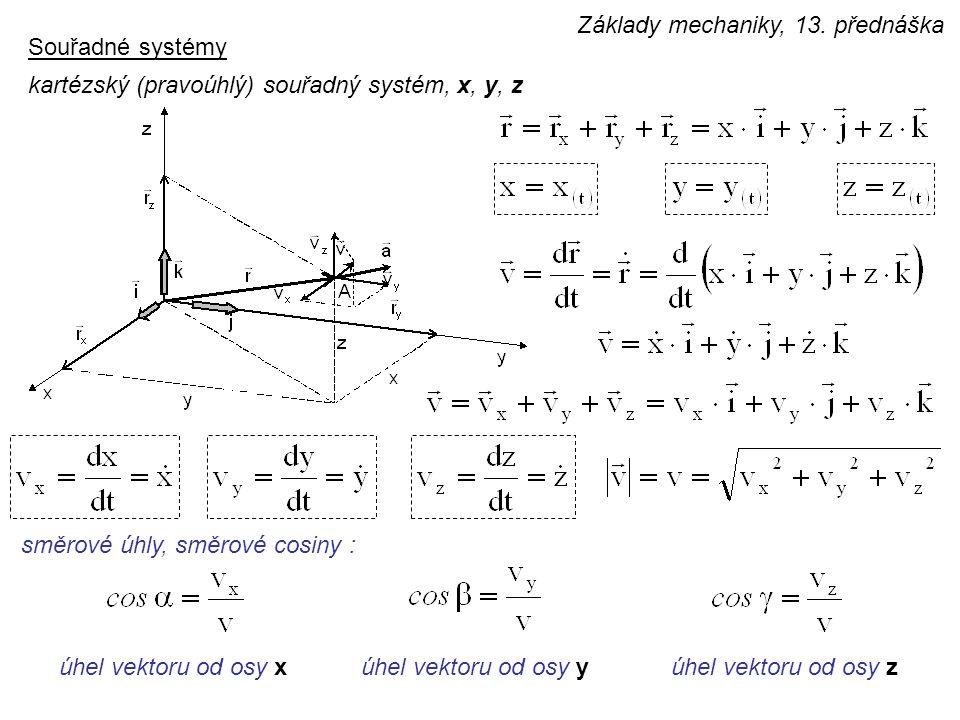 Souřadné systémy kartézský (pravoúhlý) souřadný systém, x, y, z směrové úhly, směrové cosiny : úhel vektoru od osy xúhel vektoru od osy zúhel vektoru od osy y Základy mechaniky, 13.