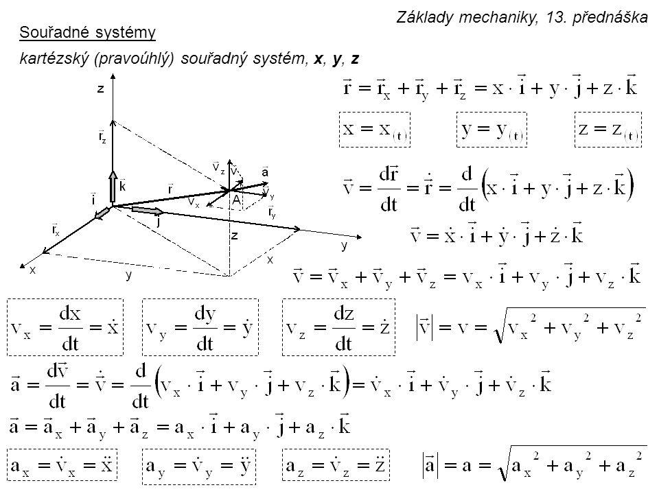 Souřadné systémy kartézský (pravoúhlý) souřadný systém, x, y, z Základy mechaniky, 13. přednáška