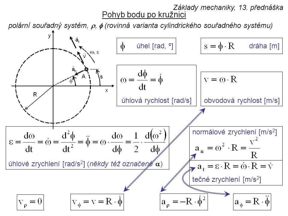 Pohyb bodu po kružnici polární souřadný systém, ,  (rovinná varianta cylindrického souřadného systému) úhlová rychlost [rad/s] úhel [rad, º]dráha [m] tečné zrychlení [m/s 2 ] obvodová rychlost [m/s] úhlové zrychlení [rad/s 2 ] (někdy též označené  ) normálové zrychlení [m/s 2 ] Základy mechaniky, 13.
