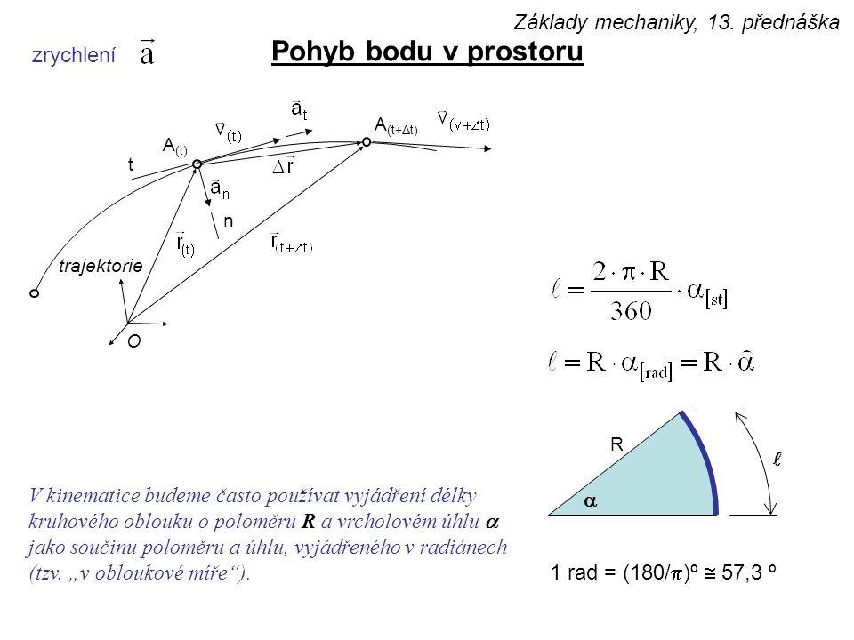 zrychlení Pohyb bodu v prostoru  R 1 rad = (180/  )º  57,3 º V kinematice budeme často používat vyjádření délky kruhového oblouku o poloměru R a vrcholovém úhlu  jako součinu poloměru a úhlu, vyjádřeného v radiánech (tzv.
